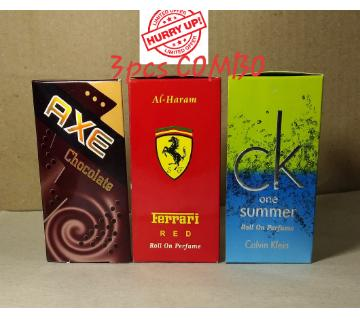 3 pcs Roll On Concentrated Perfume (Attor) Combo 6ml each (Axe, Ferrari & Ck Summer)
