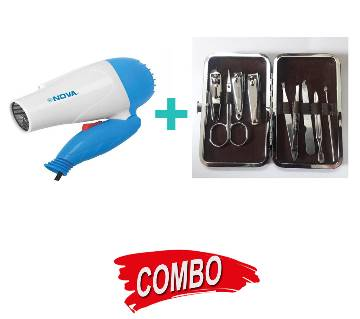 NOVA HAIR DRYER  (Ion strong) +  10 pcs NAILCUTTER SET plus MANICURE AND PADICURE Combo Offer