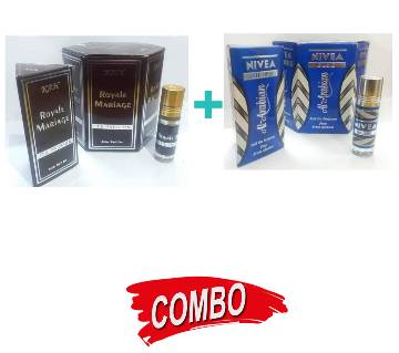 Nivea Blue Perfume (6ml) + Royal Mirage Perfume (6ml) Concentrated Perfume (Attor)  Combo Offer