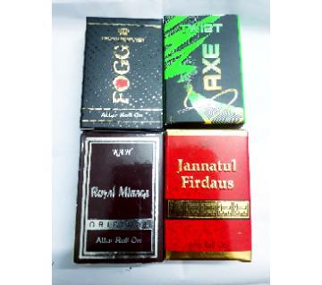 4 টি মিনি পারফিউমের কম্বো - Royal Miraze, JF, Axe, Fogg