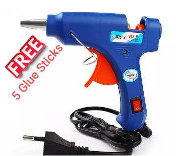 Hot Melt Glue Gun - 5pcs stick Free