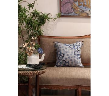 Circle of Life/ Indigo Printed & Hand Embroidered Cushion Cover by Ivoryniche