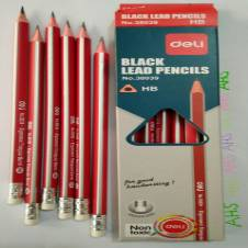 12 Pcs Deli Pencils HB (Body Color: Red-silver)