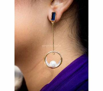 Blue Stoned White Pearled Earrings