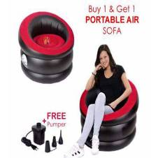 Flocked inflatable air Rounded sofa with air pumper