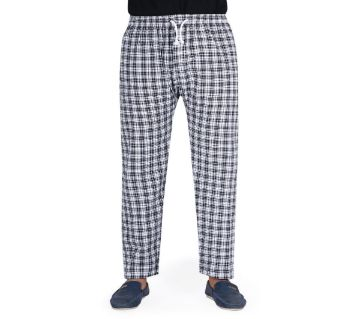 Mens extra relax cotton multi color check Trouser-Black