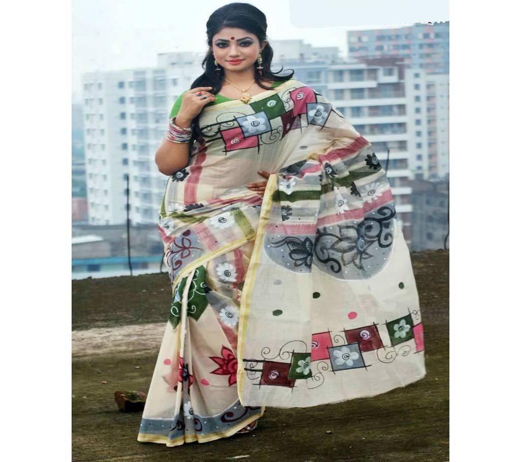 কটন কোটা হ্যান্ড প্রিন্ট শাড়ি বাংলাদেশ - 939649