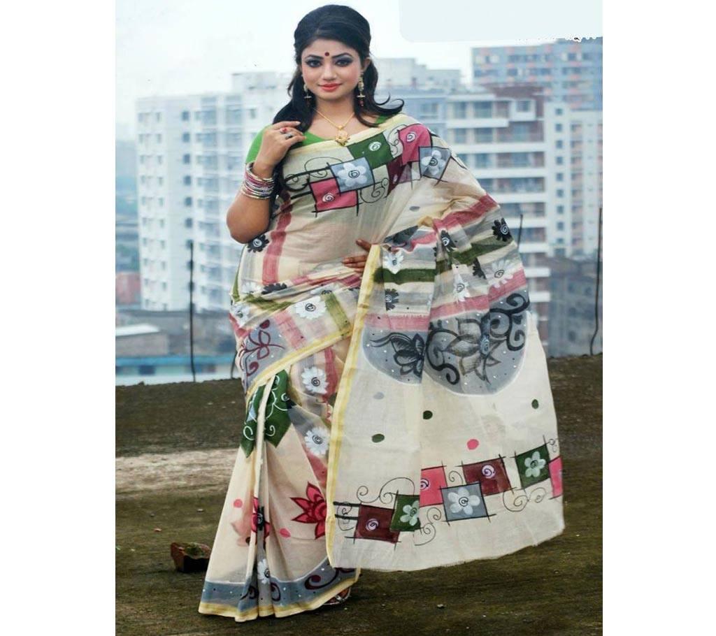 কটন কোটা হ্যান্ড প্রিন্ট শাড়ি বাংলাদেশ - 979458