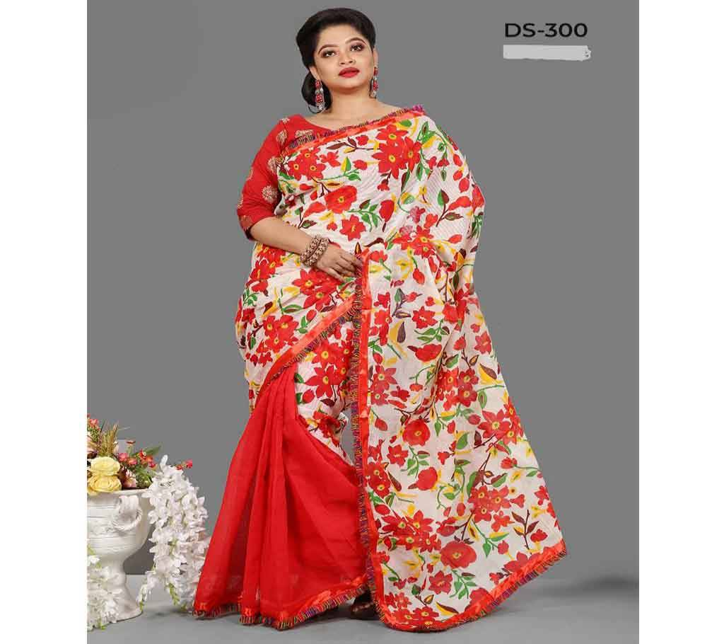 কটন কোটা বুটিক্স শাড়ী উইথ ব্লাউজ পিস-Red বাংলাদেশ - 1114405