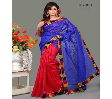 Kota Silk Saree With Blouse Piece-Red Blue