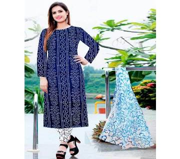 Unstitched Screen and Block Print Cotton Salwar Kameez for women