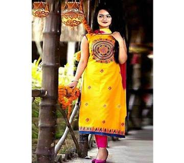 Screen and Block Print Unstitched Three Piece Shalwar Kameez For Women Ladies Collection