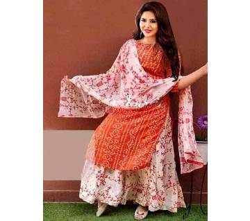 Unstitched Skin Printed Cotton Salwar Kameez for women-3pcs