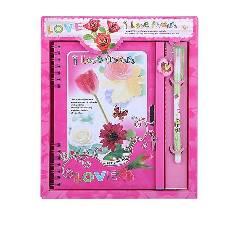 I Love You Flowers Pink ডায়েরি