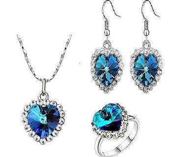 silver and blue crystal 3 in 1 Jewelry set for women
