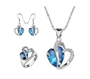3 in 1 love shaped silver and blue crystal Jewellery set