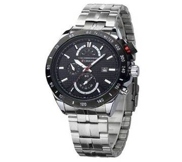 Curren stainless steel wrist watch silver and black