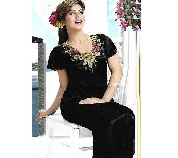 Black Silk Night Gown for Women