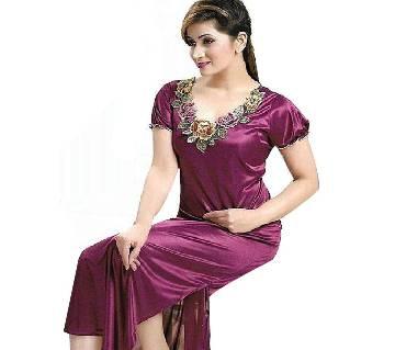 Dark Magenta Silk Night Gown for Women