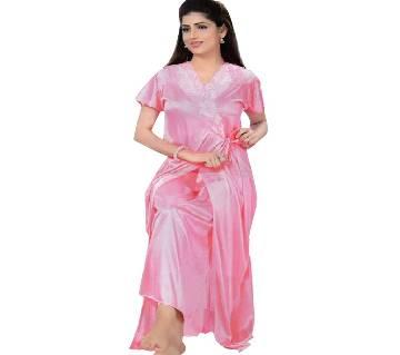 Salmon Silk Night Dress for Women- Pink (2 Part)