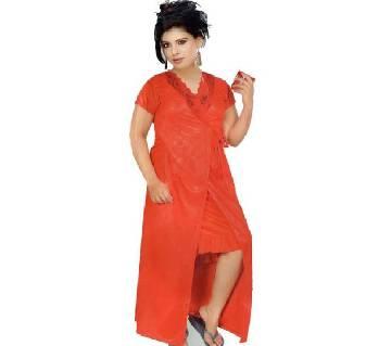 Salmon Silk  Night Dress for Women- Red ( 2 Part)