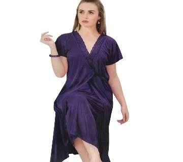 Salmon Silk Night Dress for Women- Blue( 2 Part)