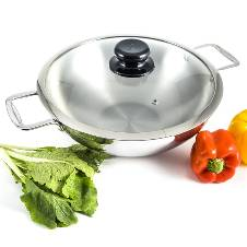 3 Layer wok With Glass Lid& SS Handle (32cm)