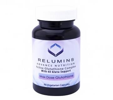 RELUMINS ADVANCE NUTRITION ACTIVE GLUTATHIONE COMPLEX -ORAL WHITENING FORMULA CAPSULES WITH 6X BOOSTERS- WHITENS, REPAIRS  REJUVENATES SKIN ক্যাপসুল  - USA