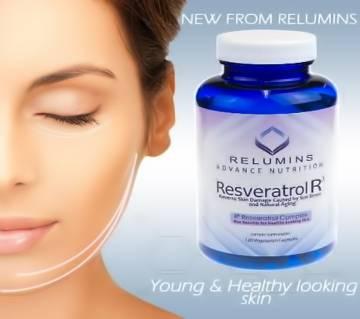 Relumins Resveratrol R3, রিভার্স স্কিন ড্যামেজ Caused by Sun Stress and Natural Aging- 120 Capsules - USA