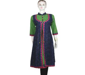 Green and Navy Blue Cotton Kurti for Women