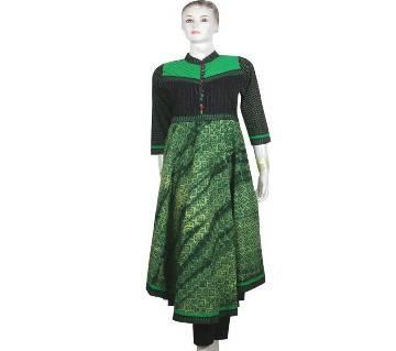 Green Black cotton Stiched Kurti