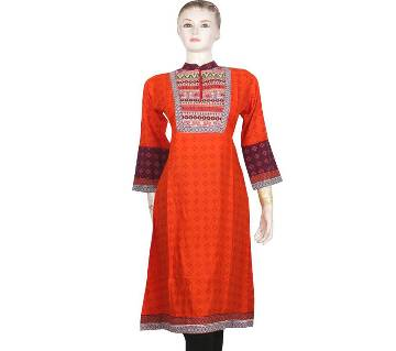 Orange Stitched Cotton Kurti for woman