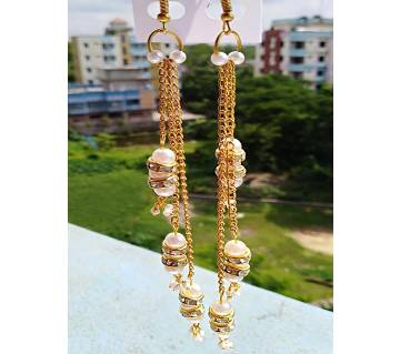 pearl stone spacer and chain earring