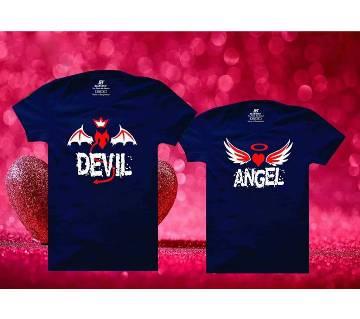 Angel Devil Mens Half  sleeve T-shirt