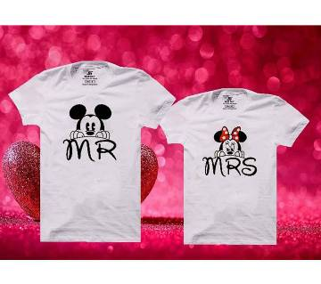 MR MRS Mens Half  sleeve T-shirt