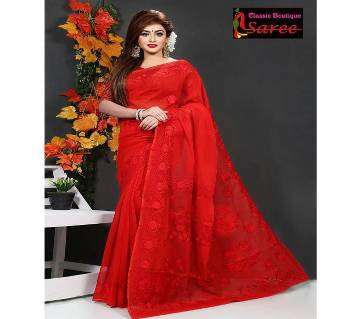 Pure Red Muslin silk with hand embroidery Cut work Applique saree