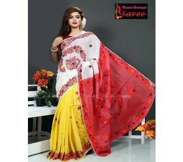 3 sheed Muslin silk with hand embroidery And cut work Applique saree for women