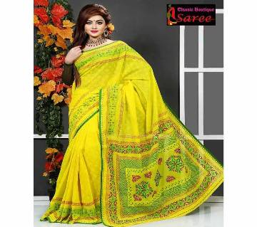 Pure basunti Andy silk with hand block And hand embroidery saree for women