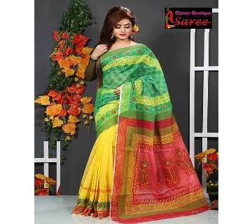 3 sheed Andy with hand block And hand embroidery And cut work Applique saree for women