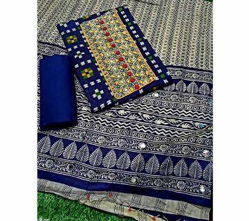 Unstitched Pure Cotton Mail Print CarCupi Shalwer Kameez For women[Three pcs]