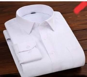 White Cotton Full Hata Shirt For Men