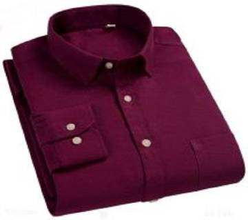 Maroon Color Full Hata Cotton Shirt For Men