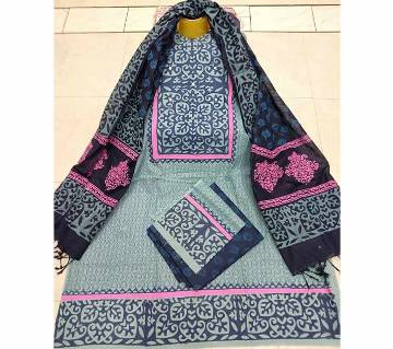 Unstitched Block Printed Cotton Three-Piece (Copy)