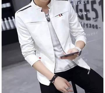 Cream Color Artificial Leather Jacket For Men