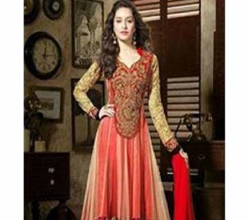 Multi Color soft Net Unstitched  Anorkali  with embroidery for women.