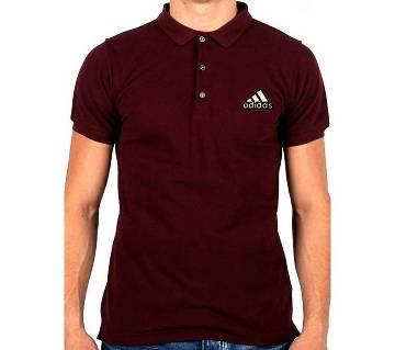 Maroon Adidas logo Cotton Short Sleeve Polo for Men-Copy