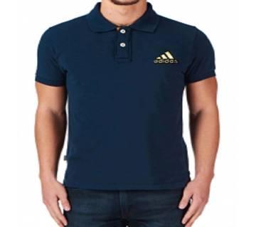 Navy Blue Adidas logo Cotton Short Sleeve Polo for Men-Copy