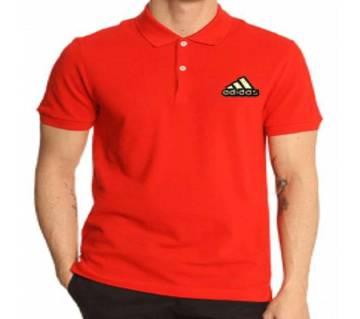 Red Adidas logo Cotton Short Sleeve Polo for Men-Copy
