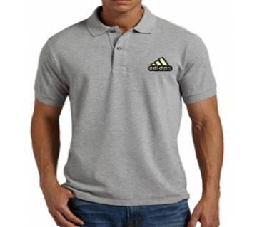 Grey Adidas logo Cotton Short Sleeve Polo for Men-Copy
