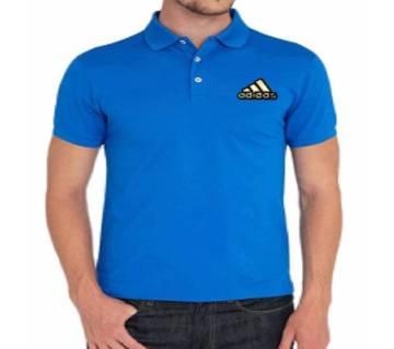 Sky Blue Adidas logo Cotton Short Sleeve Polo for Men-Copy
